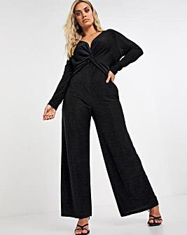 Black Glitter Knit Jumpsuit