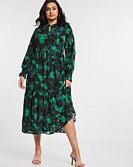 Green Jacquard Midi Dress