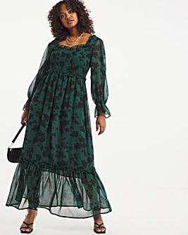 Printed Tiered Shirred Maxi Dress