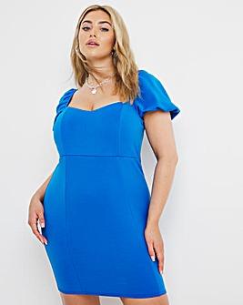 Scuba Cobalt Puff Sleeve Bodycon Dress