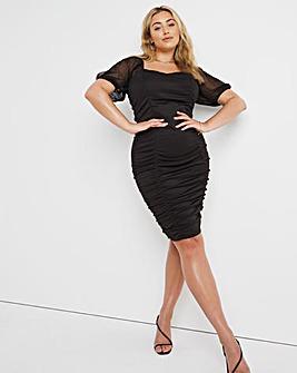 Black Scuba Mesh Sleeve Ruched Bodycon Dress