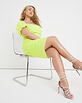 Scuba Lime Puff Sleeve Ruched Bodycon Dress