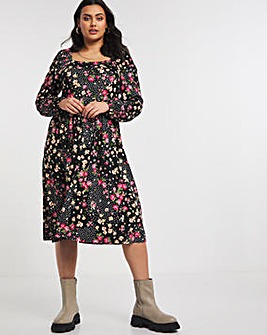 Mixed Black Floral Jersey Square Neck Long Sleeve Midi Dress