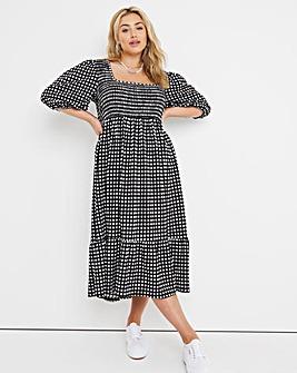 Mono Gingham Square Neck Shirred Waffle Tiered Midi Dress