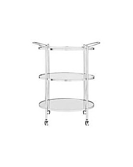 3 Tier Chrome and Glass Drinks Trolley
