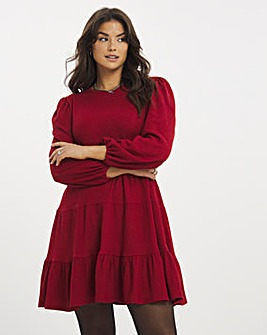 Berry Long Sleeve Tiered Textured Jersey Smock Dress