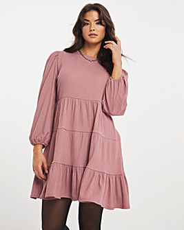 Dusty Rose Long Sleeve Tiered Textured Jersey Smock Dress