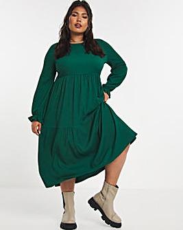 Emerald Green Long Sleeve Tiered Waffle Midi Dress