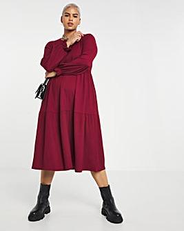 Burgundy Long Sleeve Tiered Waffle Midi Dress