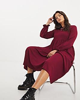 Burgundy Long Sleeve Tiered Textured Jersey Midi Dress