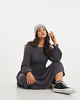 Charcoal Long Sleeve Tiered Textured Jersey Midi Dress