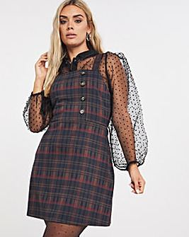 Checked Side Button Pinafore Dress