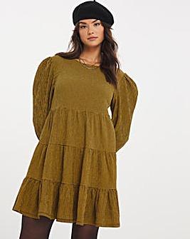 Ochre Check Long Sleeve Tiered Textured Jersey Smock Dress