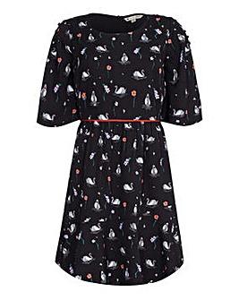 Yumi Curves Swan Print Skater Dress