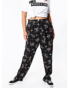 Koko Floral Check Paper Bag Trousers