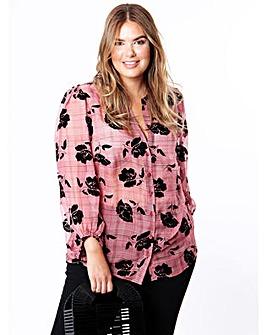 Koko Flocked Floral Sheer Shirt
