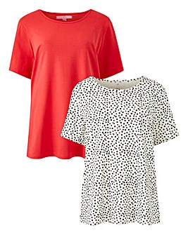 Pack of 2 Round Neck Jersey T Shirts