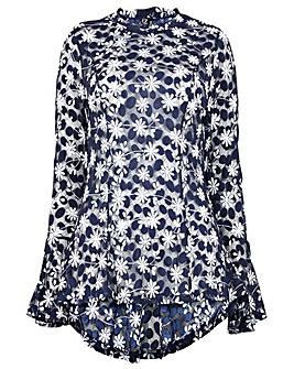 Izabel London Curve Printed Lace Top