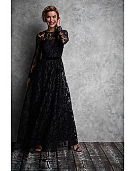Gina Bacconi Cesaria Applique Maxi Dress