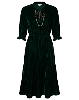 Monsoon Elphaba Velvet Midi Dress