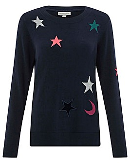 Monsoon Skye Star Patch Jacquard Jumper