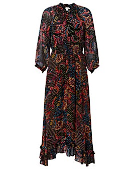 Monsoon Akisa Print Hanky Hem Midi Dress