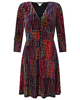 Monsoon Selina Spot Velvet Print Dress
