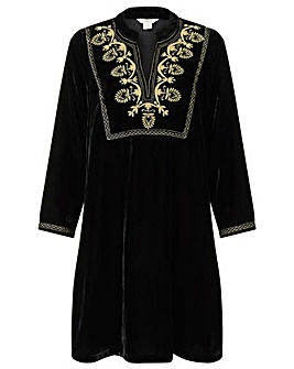 Monsoon Vesta Velvet Embroidered  Dress