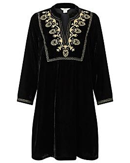Monsoon Vesta Velvet Embroidered  Dress