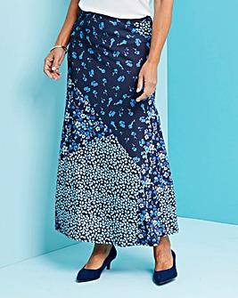 Patchwork Print Jersey Maxi Skirt