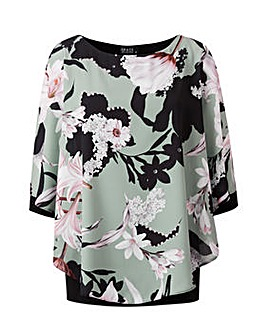 Grace chiffon overlay tunic with cuff