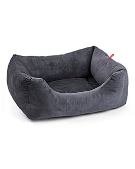 Zoon Charcoal Grey Velour Square Bed