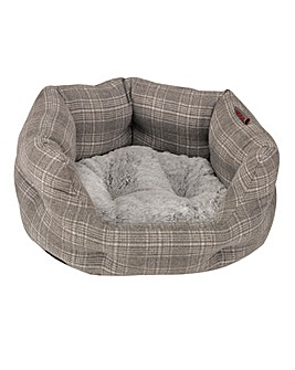 Grey Plaid Oval Beds
