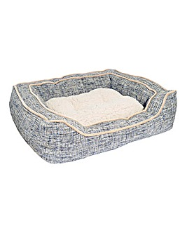 Luxury Slate and Oatmeal Square Dog Bed