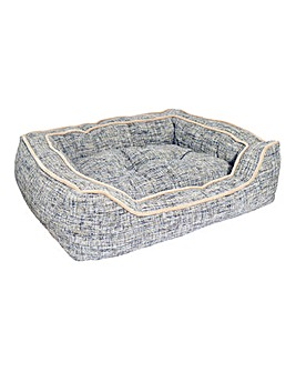 Rosewood Luxury Slate and Oatmeal Square Dog Bed