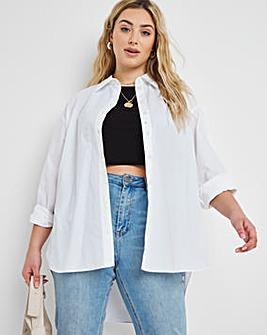 Cotton Poplin Oversized Boyfriend Shirt