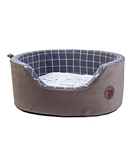 Petface Grey Check & Bamboo Oval Foam Bed