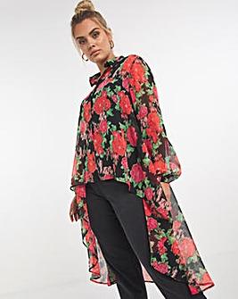 Floral Chiffon Maxi Shirt
