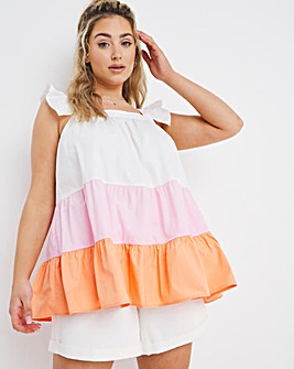 Relaxed Fit Tiered Colour Block Smock Cami