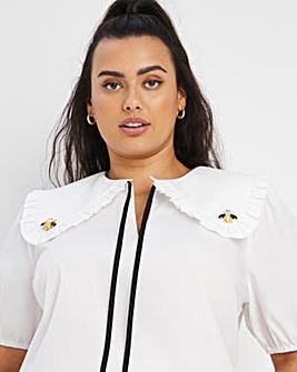 Bee Embellished Collar Poplin Top