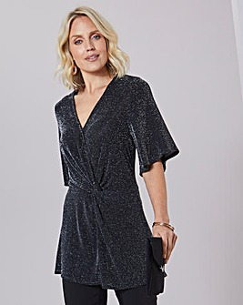 Julipa Knot Detail Stretch Glitter Tunic
