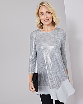 Julipa Foil Stretch Tunic With Sheer Hem