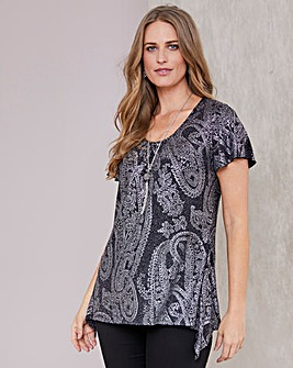 Julipa Glitter Hanky Hem Tunic And Necklace