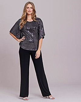 Julipa Sequin Look Top And Trouser Set