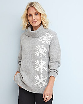 Julipa Cowl Neck Jumper With Snowflakes