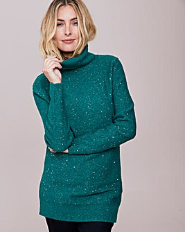 Cowl Neck Jumper With Sequins