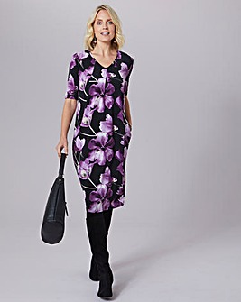 Julipa Strech Print Dress With Pockets
