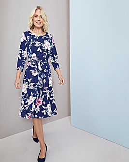 Julipa Jersey Print Dress with Tie Belt
