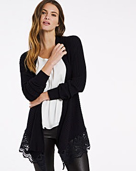 Julipa Rib Cardigan with Lace Trim
