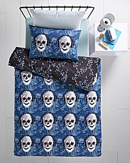 Pixel Skulls Single Duvet Cover Set